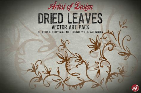 vector clip art dried leaves pack illustrations