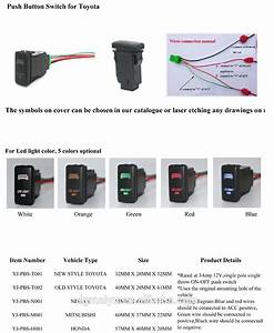 Push Button Switch Hilux Winch Power Symbol With 2 Color