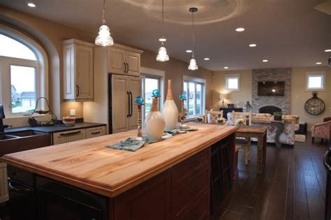 small white kitchen island open concept kitchen dining living room traditional