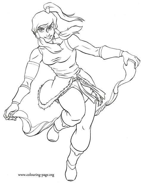legend  korra korra bending water coloring page