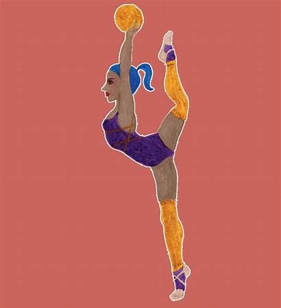 Gymnastique Personnages Gouache Ai Une Cela Malgre