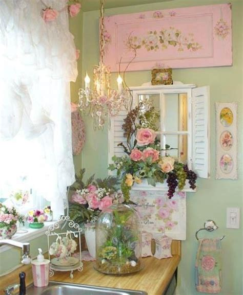 shabby chic pink and blue kitchen lots of fun ideas for decorating a shabby cottage romantic kitchen with green pink and white