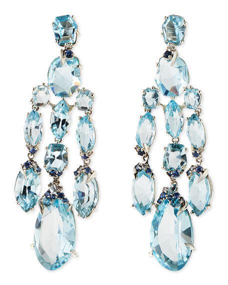 Topaz Chandelier Earrings by Bittar Blue Topaz Quartz Sapphire