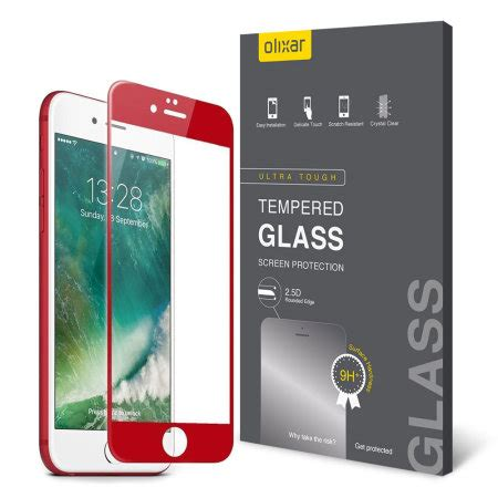 olixar iphone   edge  edge glass screen protector red