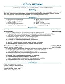 personal trainer resume template free fitness and personal trainer resume sle my resume