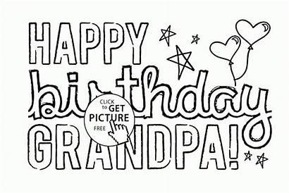 Grandpa Coloring Birthday Happy Printable Cards Grandma