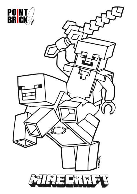 sta e colora minecraft disegni da colorare lego minecraft steve piggy
