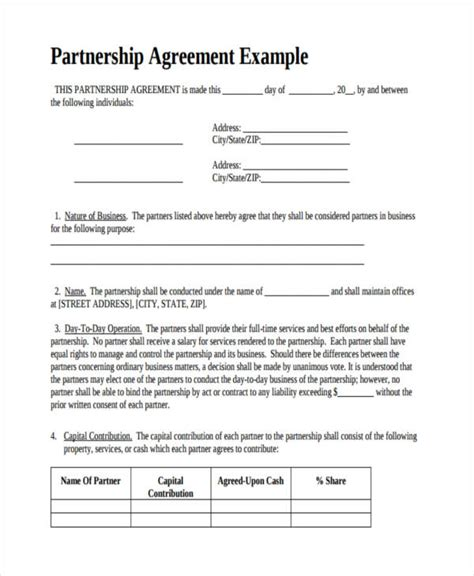 partnership contract 49 exles of partnership agreements
