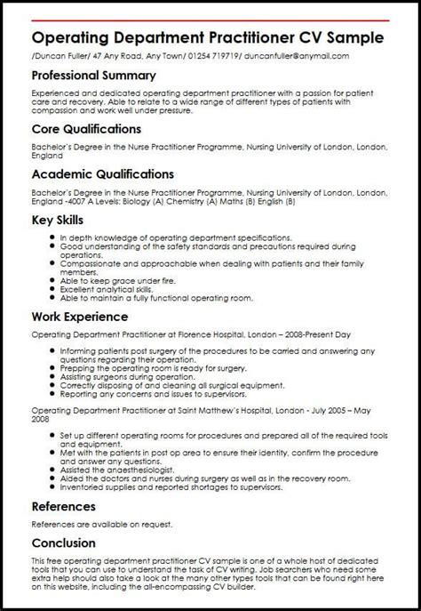 cv template nurse practitioner resume format