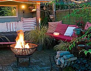 ideen fur den garten lavivacom With feuerstelle garten mit sonnensegel für den balkon