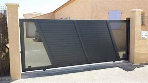 Portail En Aluminium : portail en aluminium t le perfor e design coulissant ~ Melissatoandfro.com Idées de Décoration