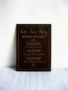 our love story sign personalized wedding gift engagement With personalized wedding gifts for bride and groom