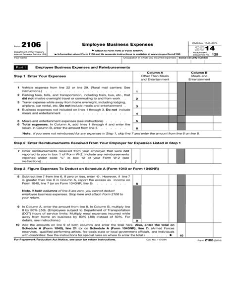 form  employee business expenses