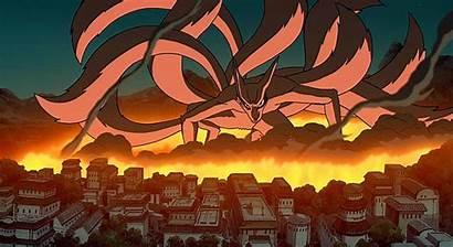 Naruto Konoha Kyuubi Destruction Kurama Nine Attack