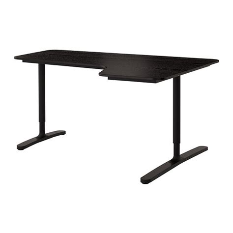 bekant corner desk right black brown black 160x110 cm ikea