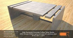 concrete coffee table sectional series dr51 simple 3 slab With concrete slab coffee table
