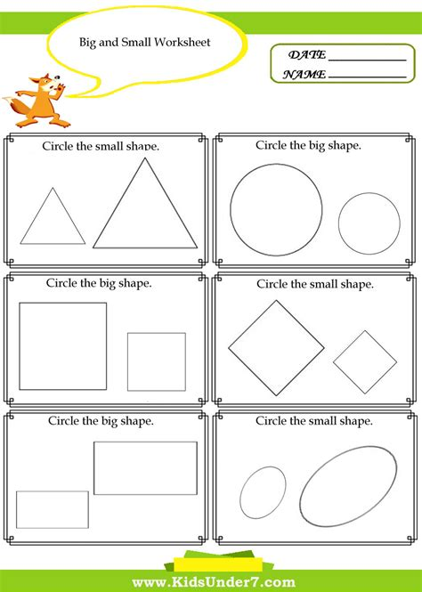 pleasant worksheets for big and small for your