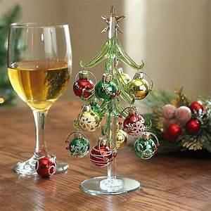 Art Glass Tree with Wineglass Charm Ornaments