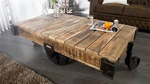 Table De Salon Industrielle : table de salon industriel en bois massif et m tal harry gdegdesign ~ Teatrodelosmanantiales.com Idées de Décoration