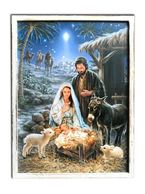 nativity bunny led fibre optic quot the chapel quot 18x24 framed led fiber optic canvas with shimmering glitter cards