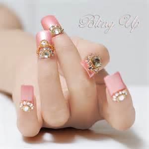Pink nail art with swarovski crystals japanese