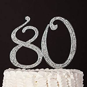 large rhinestone covered 80 80th 80 cake topper for 80th birthday rhinestone number