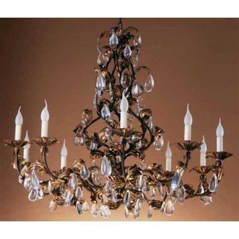 lustre en fer forge lustre en fer forg 233 florentin feuilles dor 233 es et pilles lustres baroques florentins de