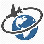 Plane Globe Airplane Flight Earth Icon Travel