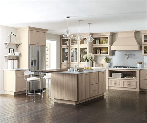 Kitchen Cabinet Stain Ideas - transitional kitchen with beige cabinets kemper cabinetry