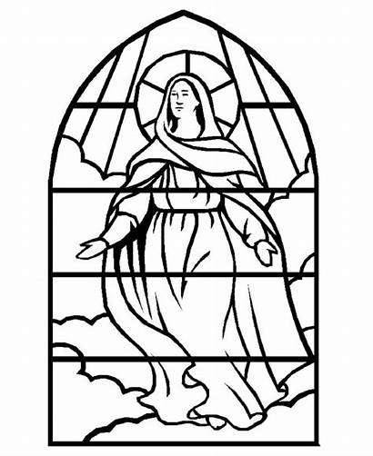Mary Christmas Coloring Stained Pages Glass Virgin