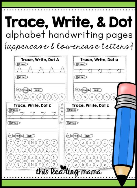 alphabet handwriting pages trace write dot