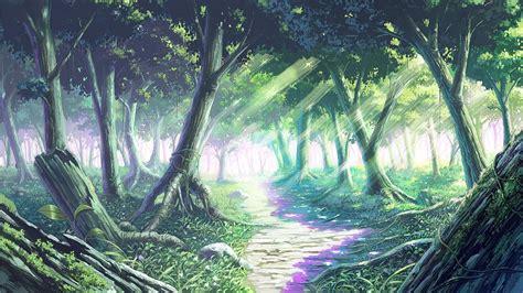 anime forest backgrounds wallpaper cave kawaii en