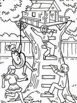 Coloring Treehouse Fun Pages Having Four Tree Boomhutten Houses Kleurplaten Clipart Printable Ewok Magic Kleurplaat Van Worksheet Zo Coloringhome sketch template