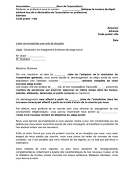 declaration changement bureau association lettre de d 233 claration du changement de si 232 ge 224 l assureur de l association mod 232 le de lettre