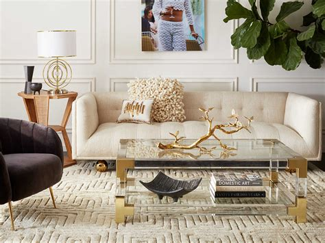Cocktail & coffee tables conference tables console tables dining sets dining tables kitchen islands never miss new arrivals that match exactly what you're looking for! Jonathan Adler Jacques Clear / Brass 50'' Wide Rectangular Coffee Table | JON26317