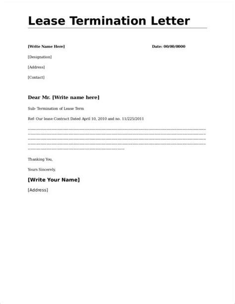 lease termination letter format samples