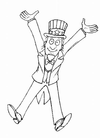 Uncle Coloring Sam Pages Sheet Clipart Template