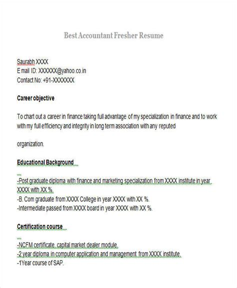 resume of cost accountant fresher 43 professional fresher resumes