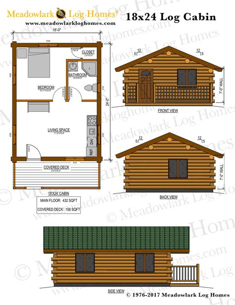 cabin blueprints one floor 16x24 homes studio design gallery best