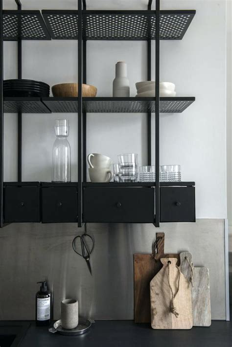 suspended shelf  metal kitchen shelves ideas