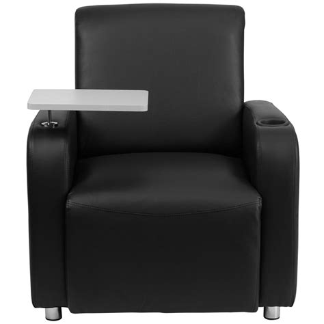 black leather guest chair with tablet arm chrome legs and