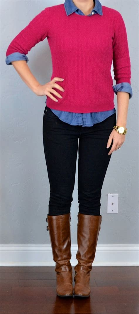 Outfit post pink sweater chambray shirt black skinny jeans boots