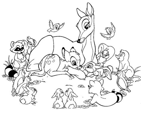 Bambi Coloring Pages Cartoon For Kids