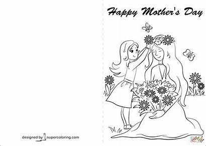 Coloring Card Happy Cards Mother Pages Mothers