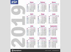 Español calendario 2019 — Archivo Imágenes Vectoriales