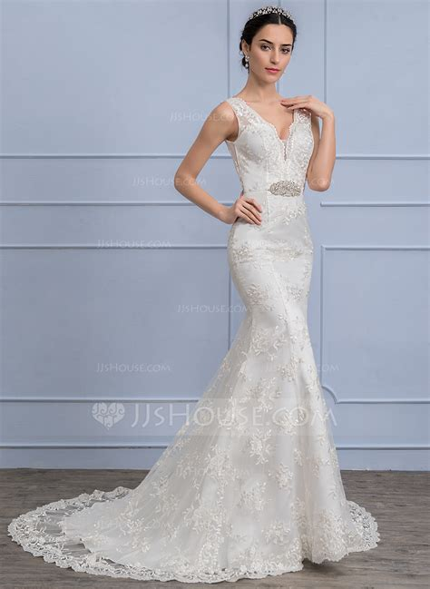 Trumpetmermaid V Neck Sweep Train Lace Wedding Dress With