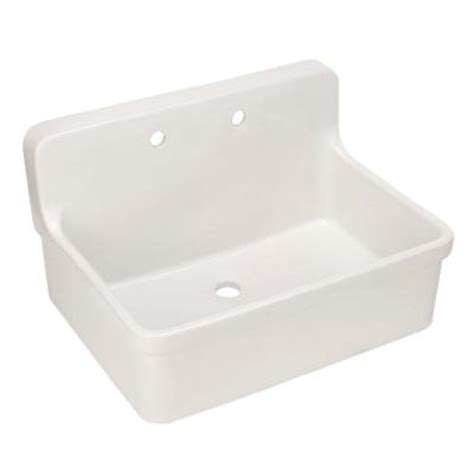 home depot wall mount sink kohler gilford 22 in vitreous china laundry sink in white