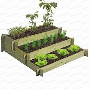 Carre De Jardin Potager : carr potager 3 tages bois trait g otextile ~ Premium-room.com Idées de Décoration