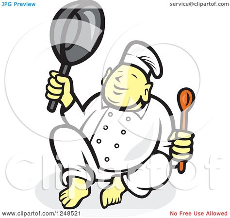 Clipart of a Buddha Chef Holding a Spoon and Pan - Royalty