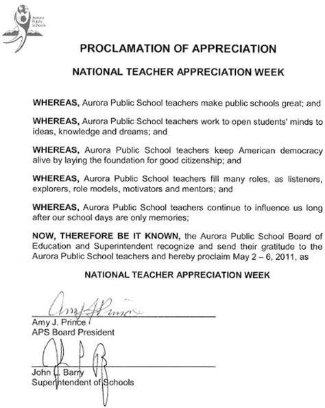 board proclamation national teacher appreciation week aurora public